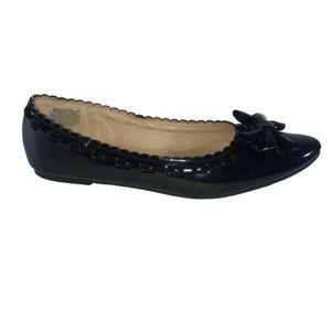 Wanted Black Bow Patent Leather Ballet Flats 8.5